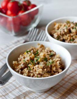 Изображение рецепта Жареный фарш с овощами и рисом