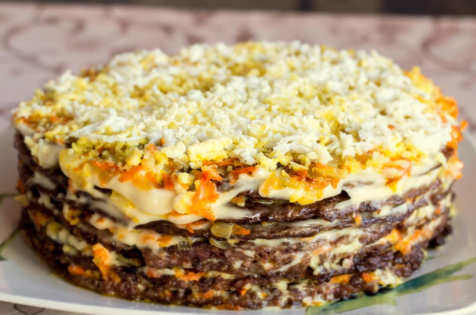 печёночный торт рецепт с корейской морковью