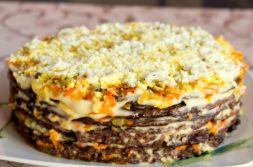 Изображение рецепта Печеночный торт с морковью и луком