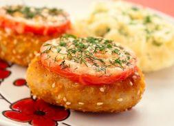 Изображение рецепта Котлеты из индейки с сыром и помидорами