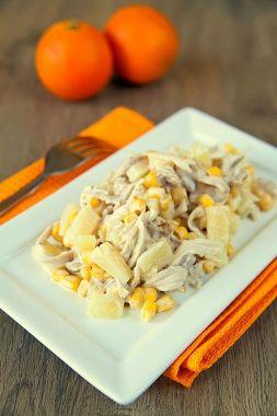 Изображение рецепта Куриный салат с ананасом и кукурузой