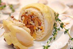 Изображение рецепта Кальмары, фаршированные грибами и рисом