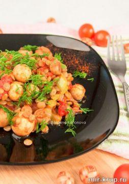 Изображение рецепта Чечевица с грибами в пряном соусе