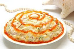 Изображение рецепта Салат из морепродуктов с икрой