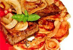 Изображение рецепта Телячья печень с яблоками и лесными ягодами