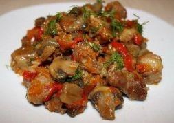 Изображение рецепта Свинина с грибами и сладким перцем