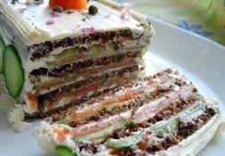 Изображение рецепта Закусочный торт с копченой рыбой