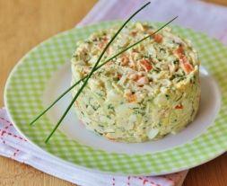 Изображение рецепта Крабовый салат с рисом и луком