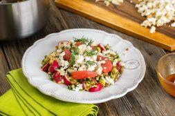 Изображение рецепта Салат с чечевицей и копченым адыгейским сыром