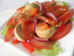 Изображение рецепта Красная рыба с помидорами и шампиньонами