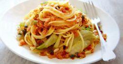 Изображение рецепта Спагетти с каперсами, фенхелем и хлебной крошкой