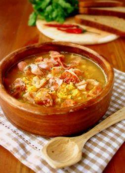 Изображение рецепта Густой гороховый суп с копчёностями